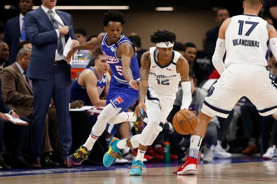 Memphis Grizzlies guard Ja Morant, right, dribbles aways from Sacramento Kings guard De'Aaron Fox, left, during the first quarter of an NBA basketball game in Sacramento, Calif., Thursday, Feb. 20, 2020. (AP Photo/Rich Pedroncelli)