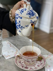 During an afternoon tea at 17 Berkshire, the tea comes in a beautiful china tea pot. Even the sugar and cream are served in delicate china containers.
