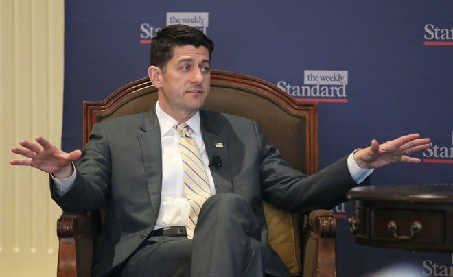 Former House Speaker Paul Ryan is shown taking part in a program at the Pfister Hotel, hosted by the Weekly Standard, in 2018.