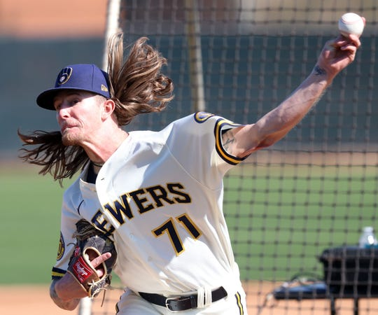 No much contact was made when Josh Hader took the mound to pitch live batting practice Thursday.