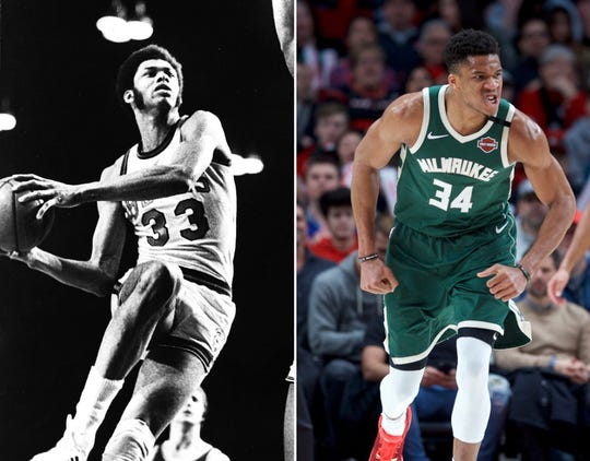 Kareem Abdul-Jabbar (left) and Giannis Antetokounmpo are transcendent talents from two great eras of Bucks basketball