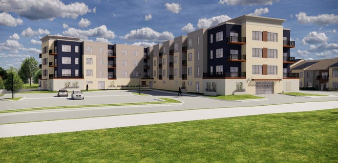 This 2019 rendering of Bear Development's Frame Park Commons apartments details what one of the two buildings, along White Rock Avenue and Moreland Boulevard, will look like once it's done. Construction has begun on the two-piece site, which straddles White Rock and includes the former site of Fracaro's bowling lanes.