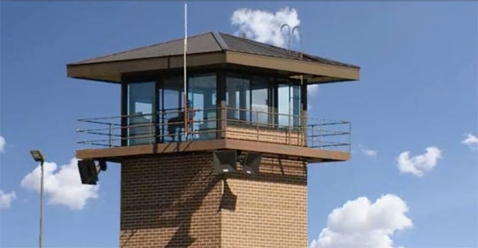 A Department of Corrections prison watch tower. Credit: Screen grab, Department of Corrections video