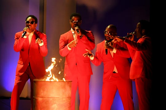 Charlie Wilson, from left, Nathan Morris, Wanya Morris, and Shawn Stockman of Boyz II Men perform during the 62nd annual Grammy Awards in Los Angeles on Jan. 26. The group's summer tour includes a headlining show at the Wisconsin State Fair Aug. 14.
