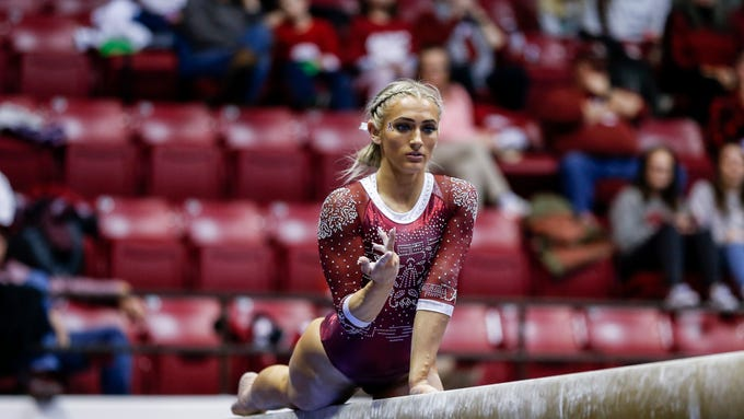 Alabama's Lexi Graber competes during an NCAA Women's gymnastics meet Friday, Feb. 14, 2020, in Tuscaloosa, Ala. (AP Photo/Butch Dill)