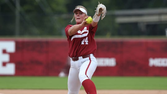 Alabama freshman pitcher Lexi Kilfoyl (44) pitches during a Fall scrimmage on Oct. 20, 2019 at Rhoads Stadium in Tuscaloosa. (Courtesy photo)