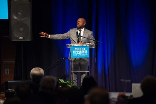 Rev. James McCarroll, pastor of First Baptist Church on East Castle Street in Murfreesboro, delivers a powerful message during the 24th annual Unity Luncheon at MTSU in the Student Union Ballroom.