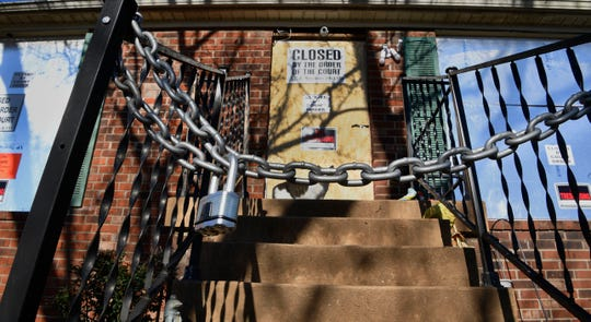 """A house in the 300 block of Monaco Drive was padlocked Thursday and deemed """"public nuisance"""" in Hermitage, Tenn. is seen on Friday, Feb. 21, 2020."""