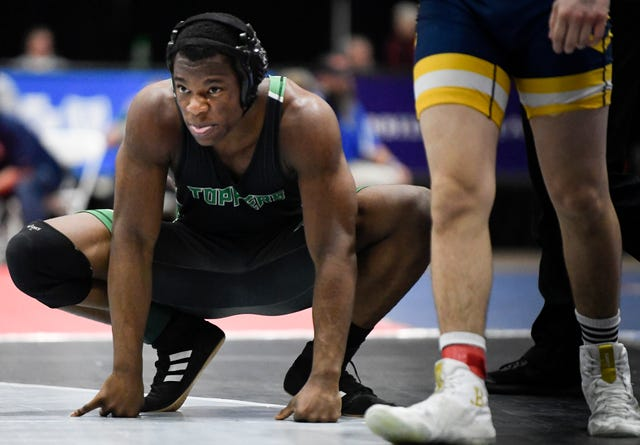Hillwood's Sikura Ekunsumi takes a breather in his match against Walker Valley's Heath Tanksley during the TSSAA individual wrestling state championships at Williamson Co. Ag Center Thursday, Feb. 20, 2020 in Franklin, Tenn.