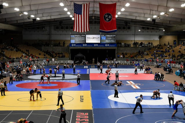 Wrestlers participate in the TSSAA individual wrestling state championships at Williamson Co. Ag Center Thursday, Feb. 20, 2020 in Franklin, Tenn.