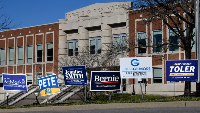 Early voting for the 2020 Presidential Preference Primary & County Primary Election at Howard Office Building and other locations continues across town Friday, Feb. 21, 2020 in Nashville, Tenn. Early voting for the March 3, 2020 Presidential Preference Primary & County Primary Election will end Feb. 25 at 7pm.