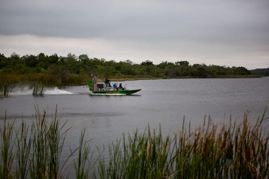 An airboat tour crosses the water at Lake Trafford in Immokalee on Friday, February 21, 2020.