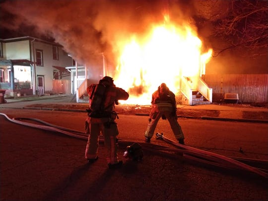Newark firefighters battled a fire on Chestnut Street in Newark on Thursday, Feb. 20, 2020.
