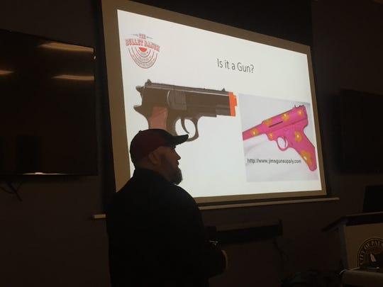 "Some points driven home repeatedly during a Feb. 20 Pataskala gun safety ""Town Hall"": always assume a gun is real, loaded, and don't aim a gun at anything ""you are not willing to destroy."""