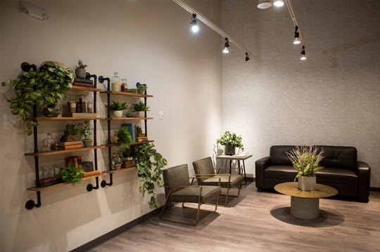 The waiting room at Herbology, where family can wait while their loved ones proceed into the dispensary area. The medical marijuana dispensary will open March 5.