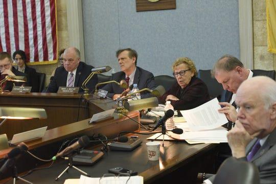 Legislators listen as Kevin Corbett, CEO and president of NJ Transit, testifies at a Senate hearing in Trenton on Friday, Feb. 21, 2020.