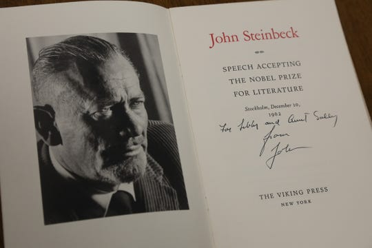 Acceptance Speech John Steinbeck The Nobel Prize For Literature 1962. Inscribed by John Steinbeck to his mother-in-law Libby and aunt Sally. It is one of over 200 items displayed at Curated Estates Auction House, from the estate of author John Steinbeck who died in 1968 and his wife Elaine who died in 2003.