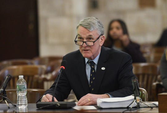 Kevin Corbett, CEO and president, testifies at the NJ Transit senate hearing in Trenton