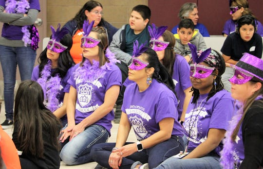 "Staff members in the purple ""Masterminds"" house at Sonoma Elementary School view the opening ceremonies on Friday, Feb. 21, 2020."