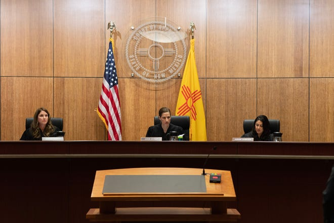 Judges Megan P. Duffy, Jennifer L. Attrep and Briana H. Zamora listen to oral arguments in the New Mexico Court of Appeals in Albuquerque.
