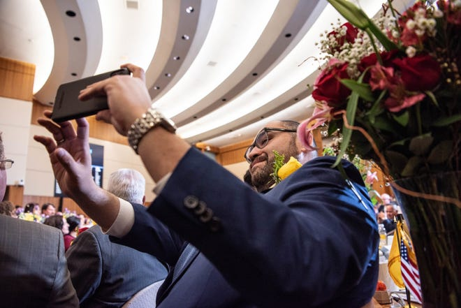 Sen. Jacob R. Candelaria, D-Albuquerque, takes a selfie on the House floor of the New Mexico Roundhouse. Candelaria is one of three legislators who were rated super active on both Twitter and Facebook.