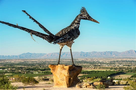 The Roadrunner sculpture at the Scenic View rest area on the City's West Mesa.