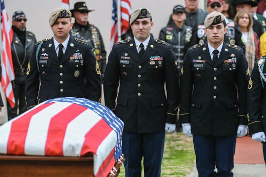 """The casket of SFC Antonio Rey """"Rod"""" Rodriguez is brought out of the Cathedral of the Immaculate Heart of Mary for the funeral service on Friday, Feb. 21, 2020."""