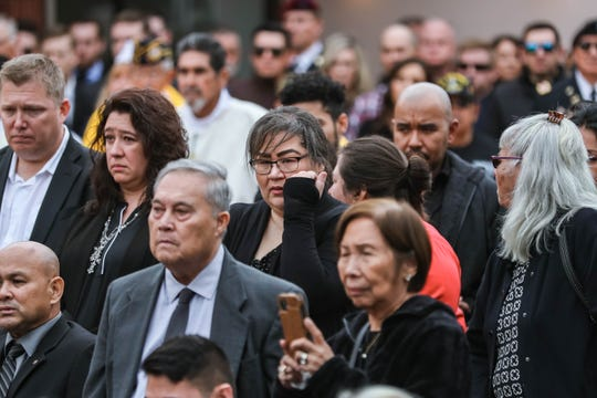 """Hundreds gather at the Cathedral of the Immaculate Heart of Mary for the funeral service of SFC Antonio Rey """"Rod"""" Rodriguez on Friday, Feb. 21, 2020."""