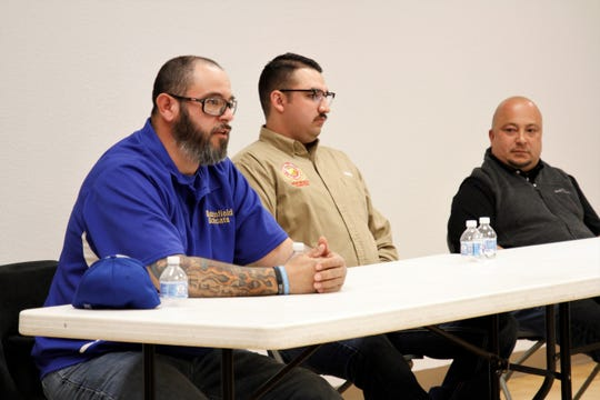 David Aguirre, Tony Herrera and George Walter are the three candidates for Bloomfield City Council. The Bloomfield Chamber of Commerce hosted a meet and greet, Wednesday, Feb. 19, 2020, at the Bloomfield Multicultural Center.