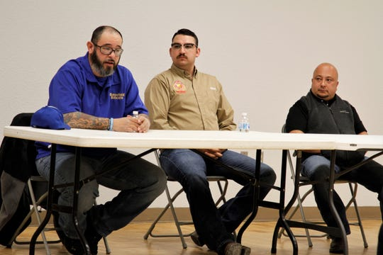 Bloomfield City Council candidates David Aguirre, Tony Herrera and George Walter participate in a meet and greet, Wednesday, Feb. 19, 2020, at the Bloomfield Multicultural Center.