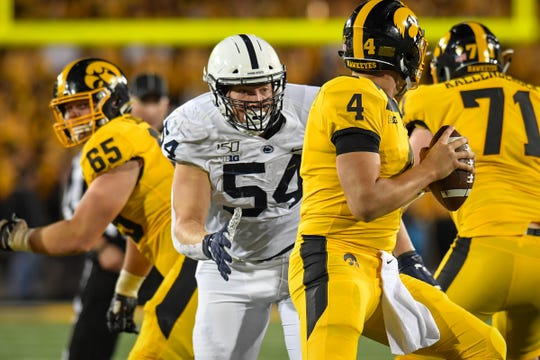 Penn State's Robert Windsor (54) during third quarter action of the game with Iowa. The No. 10/9 Nittany Lions became bowl eligible for the 50th time in program history after defeating No.17/18 Iowa, 17-12 on Saturday night Oct. 12, 2019 in Kinnick Stadium.