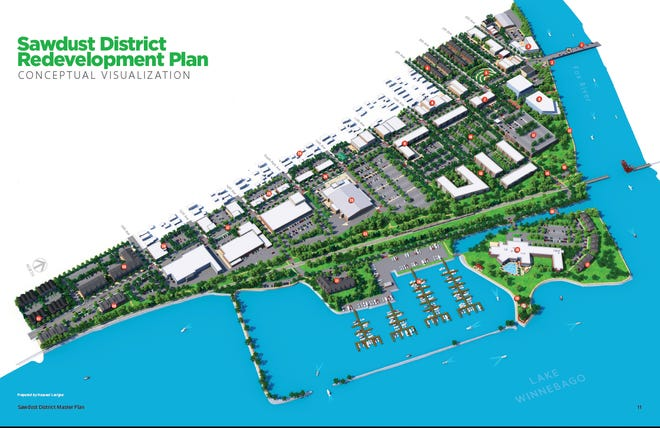 An artist's rendering of the proposed Sawdust District from the conceptual plan.