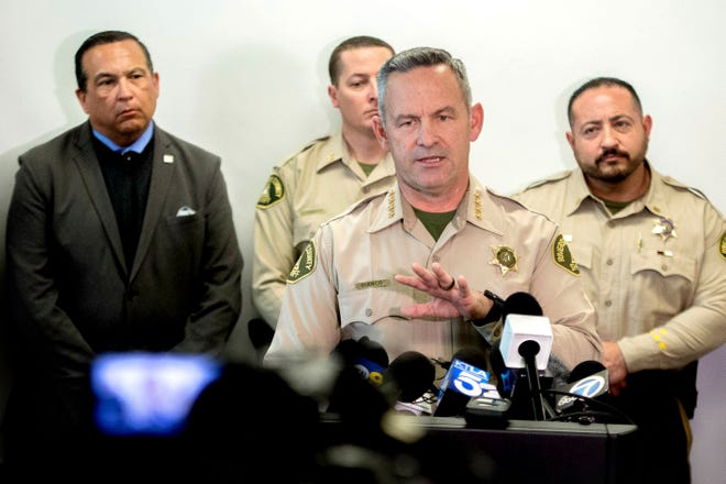 Riverside County Sheriff Chad Bianco provides an update on a homicide investigation in February 2020.