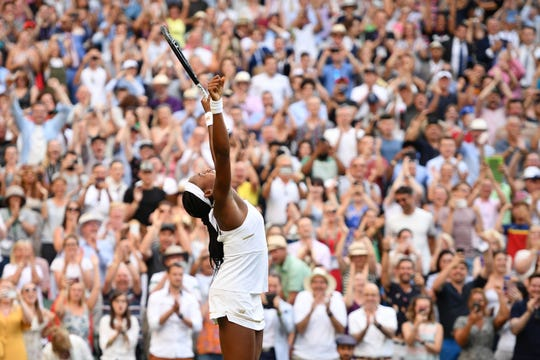 Coco Gauff celebrates beating Slovenia's Polona Hercog during their women's singles third round match on the fifth day of the 2019 Wimbledon Championships on July 5, 2019.