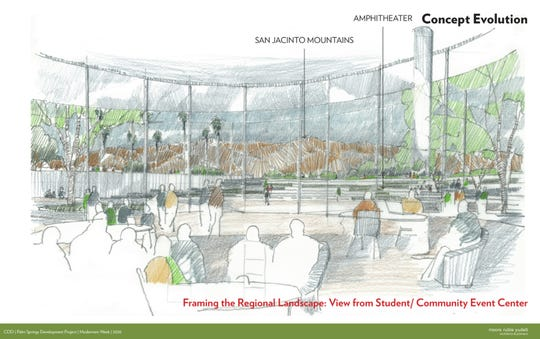 Conceptual designs for the Palm Springs campus of College of the Desert were unveiled during Modernism Week 2020. The campus is planned to open in 2023.