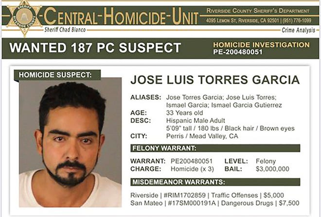 "This wanted poster provided by the Riverside County Sheriff's Department shows Jose Luis Torres Garcia. Authorities are seeking Garcia who is considered ""armed and very dangerous"" and is believed to have killed three men and left their bodies in a Southern California cemetery, the Riverside County sheriff said Thursday, Feb. 20, 2020. Sheriff Chad Bianco said at a news conference there is a felony warrant out for the arrest of Garcia, with $3 million bail. Bianco did not say how the men were killed."
