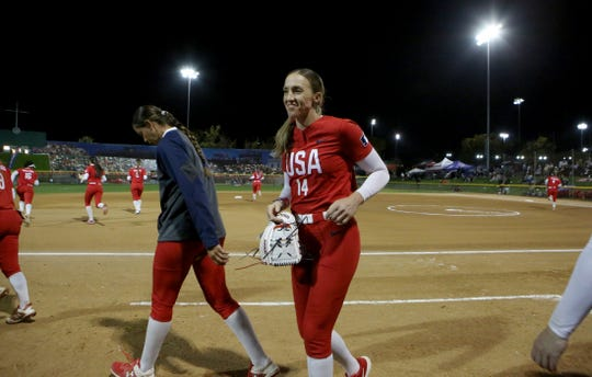 Monica Abbott of the USA Olympic softball team participates in the Mary Nutter Classic college softball tournament at Big League Dreams Sports Park in Cathedral City, Calif., on February 20, 2020.
