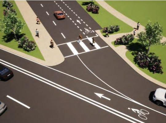 A rendering of the proposed intersection of Navy Boulevard and Chief's Way. The Florida Department of Transportation is undergoing  a design process for Navy Boulevard improvements.