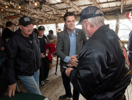 U.S. Rep. Matt Gaetz meets with constituents at Hub Stacey's in Innerarity Point on Friday.