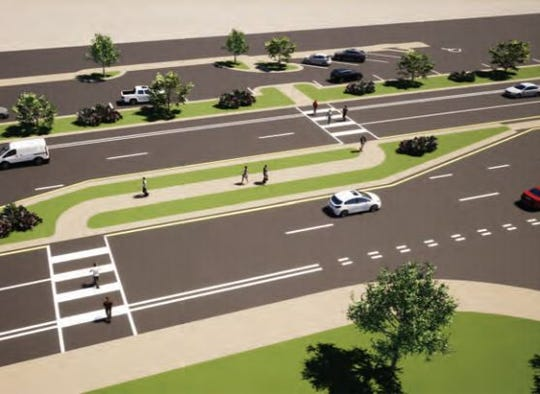 """A rendering of a mid-block crosswalk proposed for Navy Boulevard. The Florida Department of Transportation is proposing a """"complete streets"""" concept for the road."""