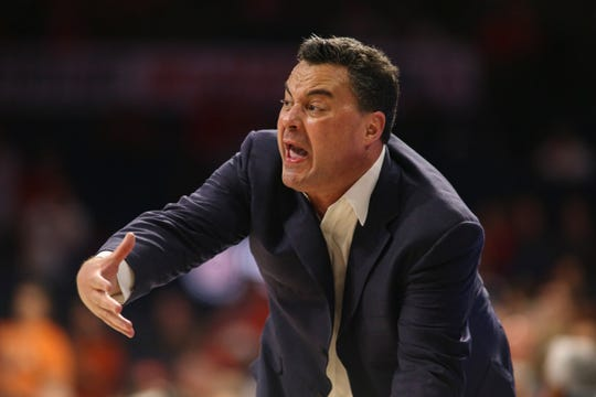 Feb 20, 2020; Tucson, Arizona, USA; Arizona Wildcats head coach Sean Miller yells at his team in in the first half against Oregon State Beavers at McKale Center. Mandatory Credit: Jacob Snow-USA TODAY Sports