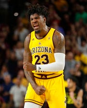 ASU's Romello White (23) reacts after the team extends their lead against Oregon during the second half at Wells Fargo Arena in Tempe, Ariz. on Feb. 20, 2020.