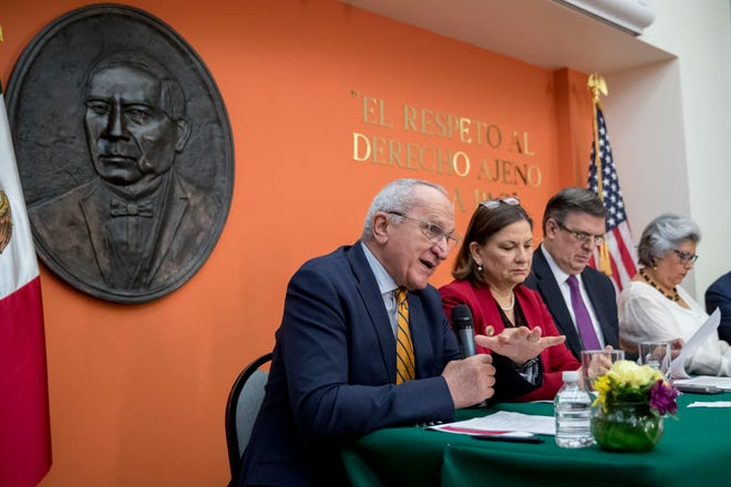 Mexican Undersecretary to North America Jesus Seade Kuri (left) accompanied by Mexican officials, speaks at a news conference at the Mexican Embassy in Washington, Monday, June 3, 2019, as part of a Mexican delegation in Washington for talks following trade tariff threats from the Trump Administration.