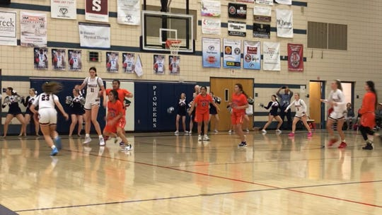 Feb. 20, 2020; Pinnacle plays offense against Westwood in the 6A high school girls basketball quarterfinals.