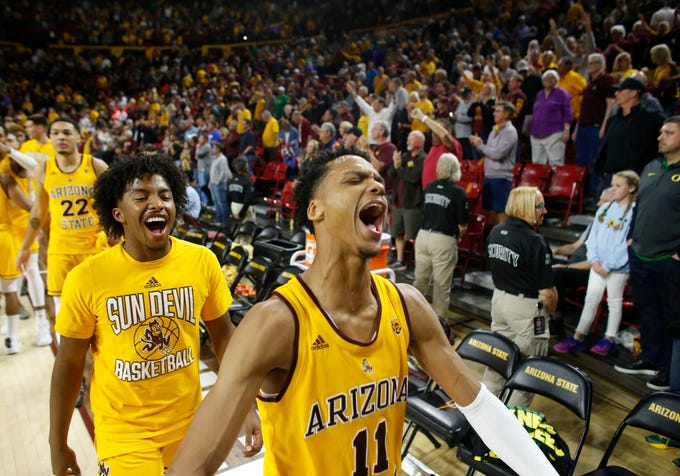 ASU's Alonzo Verge (11) celebrates a win over #14 Oregon during at Wells Fargo Arena in Tempe, Ariz. on Feb. 20, 2020.