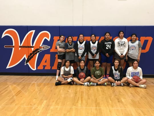 Feb. 19. 2020; Mesa Westwood girls basketball team at practice in their home gym.