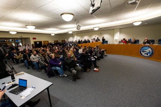 A crowd gathered Thursday night, Feb. 20, 2020, at the St. Clair County Board of Commissioners meeting to voice their opinions on a Second Amendment resolution passed by the county.