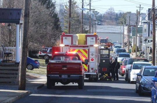 Authorities respond to a potential hazardous material event in thhe 300 block of Ringgold Street, Waynesboro, on Friday, Feb. 21, 2020.