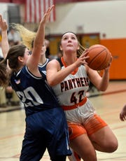 Central York's Emily Prowell cuts and shoots while covered by Missy Welch of Manheim Township during the District 3 Class 6-A quarterfinal, Thursday, February 20, 2020.John A. Pavoncello photo