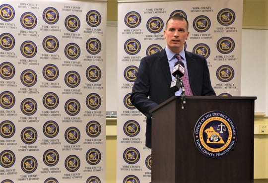 "York County Deputy Prosecutor Taylor Katherman speaks after being recognized with an award for Exceptional Service as an Assistant District Attorney. ""He's hardworking, he's humble, he's compassionate and he's fair,"" First Deputy District Attorney Seth Bortner said."
